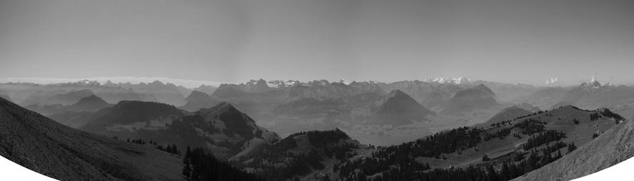 a view on the mountains from rigi kulm to the south east.